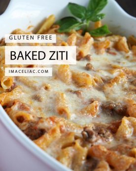 Simple recipe to make baked ziti using Gluten Free ingredients