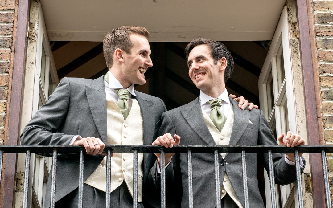 groom and best man wedding photographer Peterborough