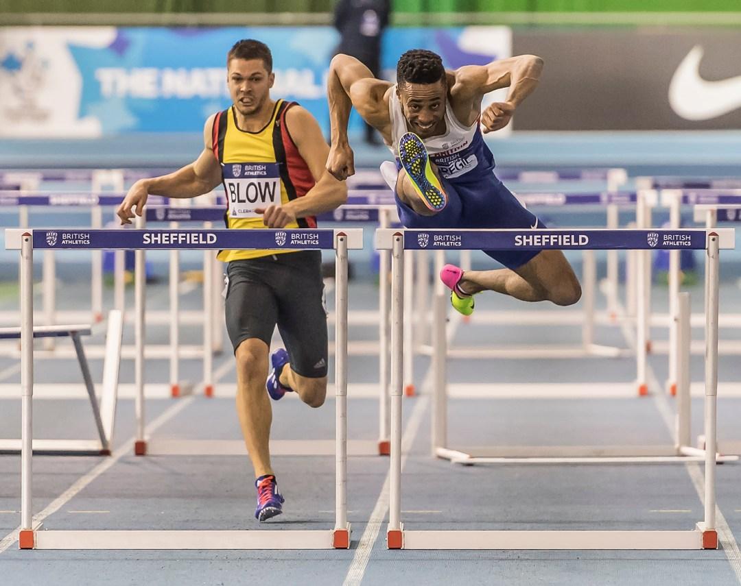 Mens 60 Meter hurdles at British Athletics indoor team trials 2017