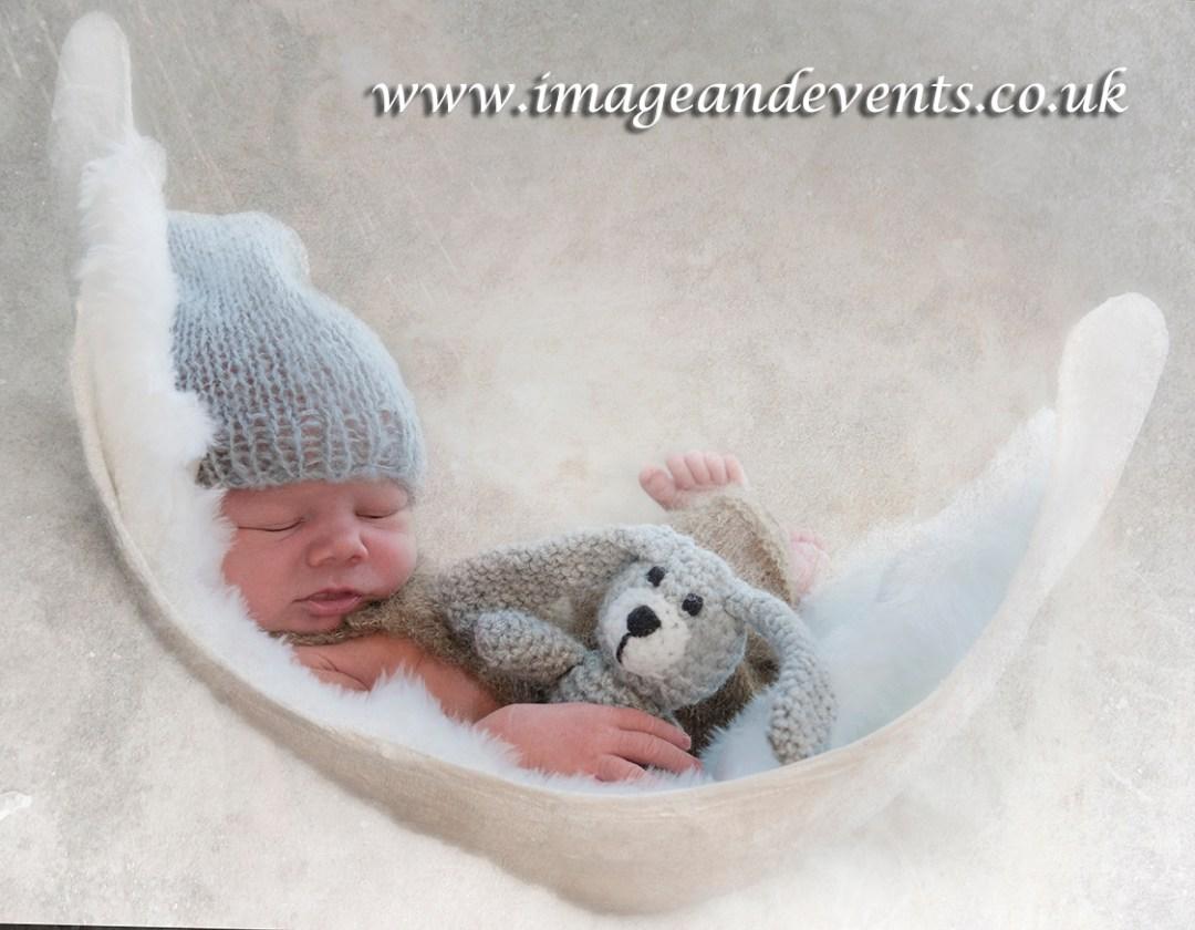 Draped Newborn baby photographed in the Peterborough studio