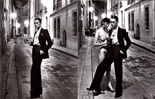 Helmut Newton yves Saint Laurent rue Abriot 1975, Paris