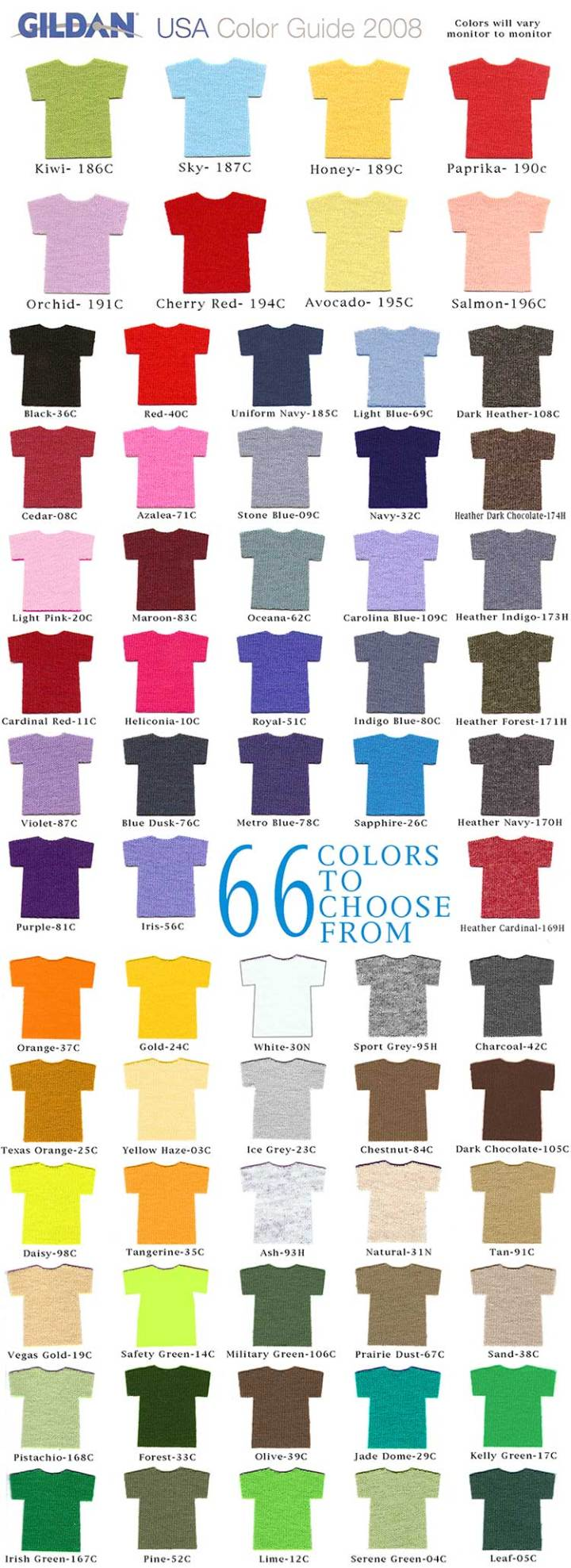 Gildan T Shirt Color Chart 2012 Lauren Goss