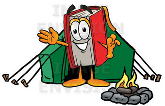 Clip Art Graphic of a Book Cartoon Character Camping With a Tent and Fire