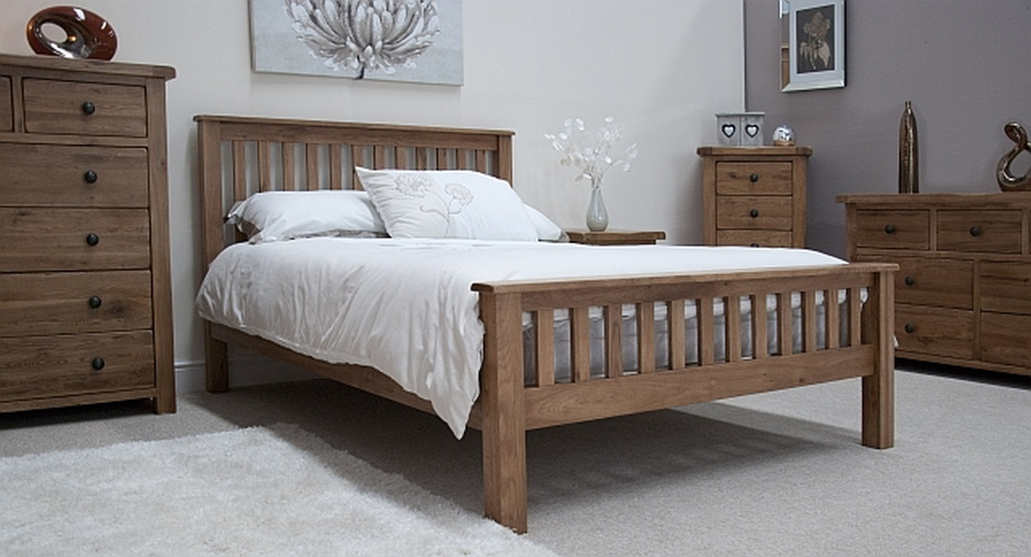 Tilson Solid Rustic Oak Bedroom Furniture 5 King Size Bed