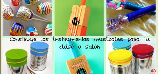 instrumentos musicales materiales reciclados collage