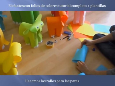 Elefantes con folios de colores tutorial