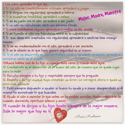 19 Mandamientos de María Montessori para los padres de familia….