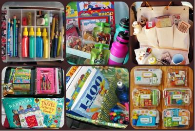 kits de viaje y organizadores de coche DIY Para viajar con niños Collage