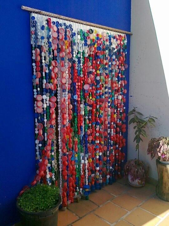 cortinas para puertas interiores y exteriores con tapones y botellas de plstico