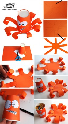 Monstruos y animales con vasos y tarrinas de papel (3)