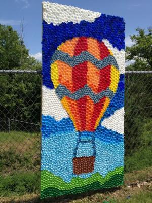 Murales con tapones de plástico (6)