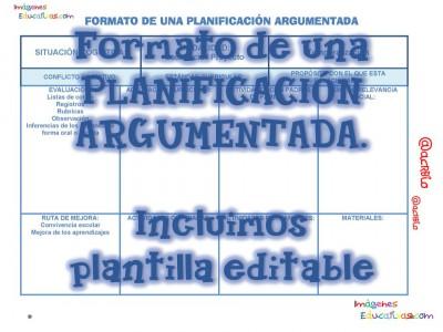 FORMATO DE UNA PLANIFICACIÓN ARGUMENTADA Portada