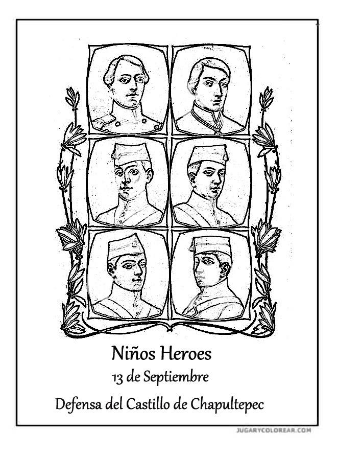 Dibujo Para Colorear Ninos Heroes Chapultepec Niños Heroés De