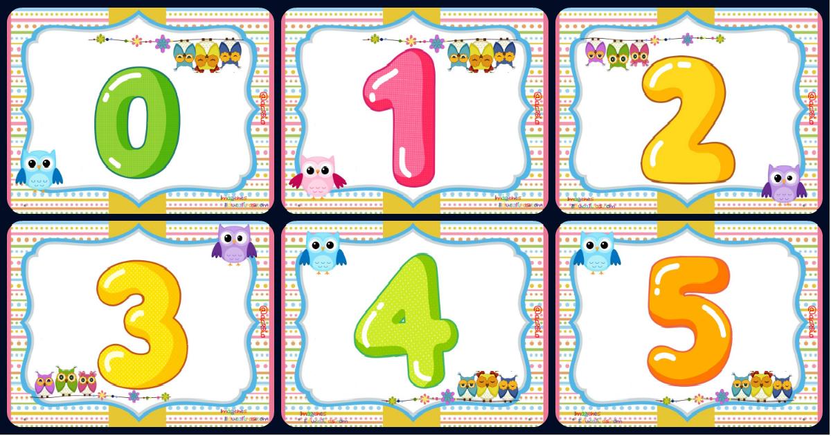 Tarjetas Imprimibles Números 0 Al 9. Motivo Búhos