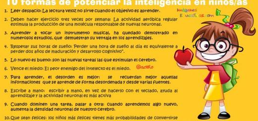 10 formas de potenciar la inteligencia en niños y niñas portada