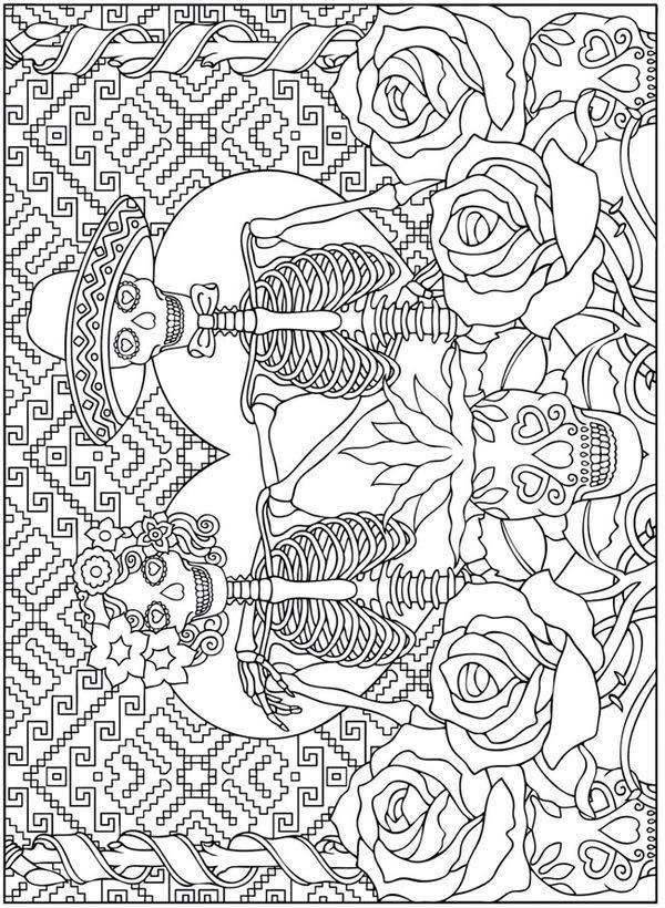 Hermosa Día Imprimible Gratis De Los Muertos Para Colorear Galería ...