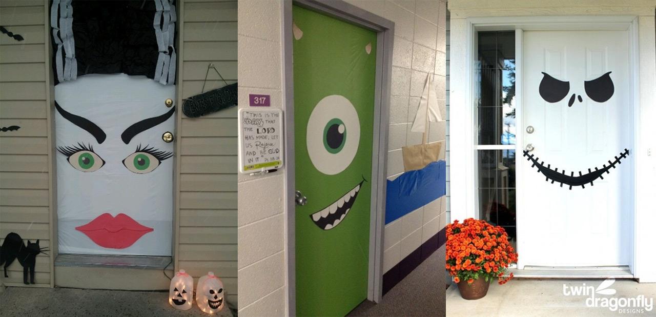 Halloween puertas 24 imagenes educativas for Ideas para decorar puerta halloween