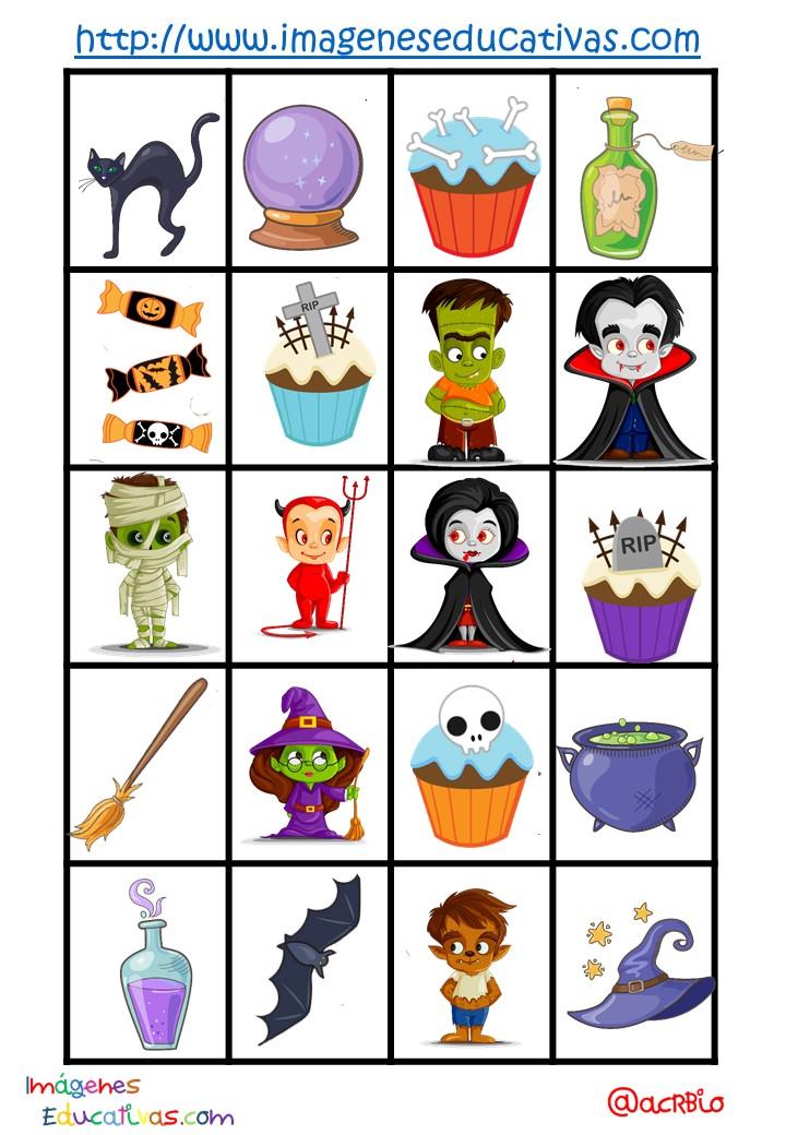loter a bingo de halloween 6 imagenes educativas. Black Bedroom Furniture Sets. Home Design Ideas