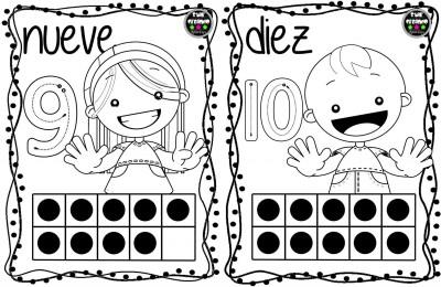 Tarjetas Para Colorear Y Repasar Los Números Del 1 Al 10 Imagenes