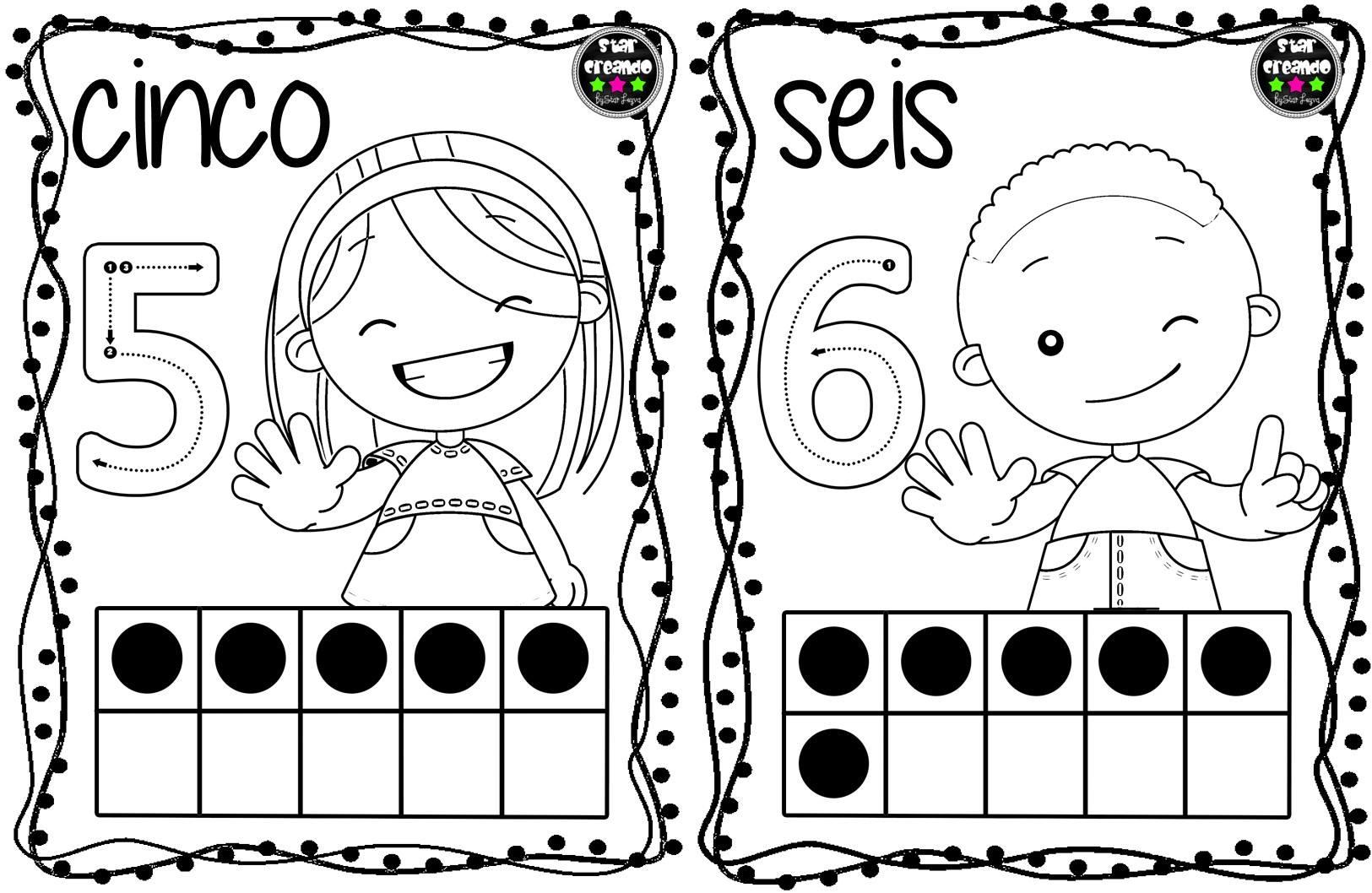 Dibujos Para Colorear Con Numeros Del 1 Al 100: Tarjetas Números Para Colorear (4)