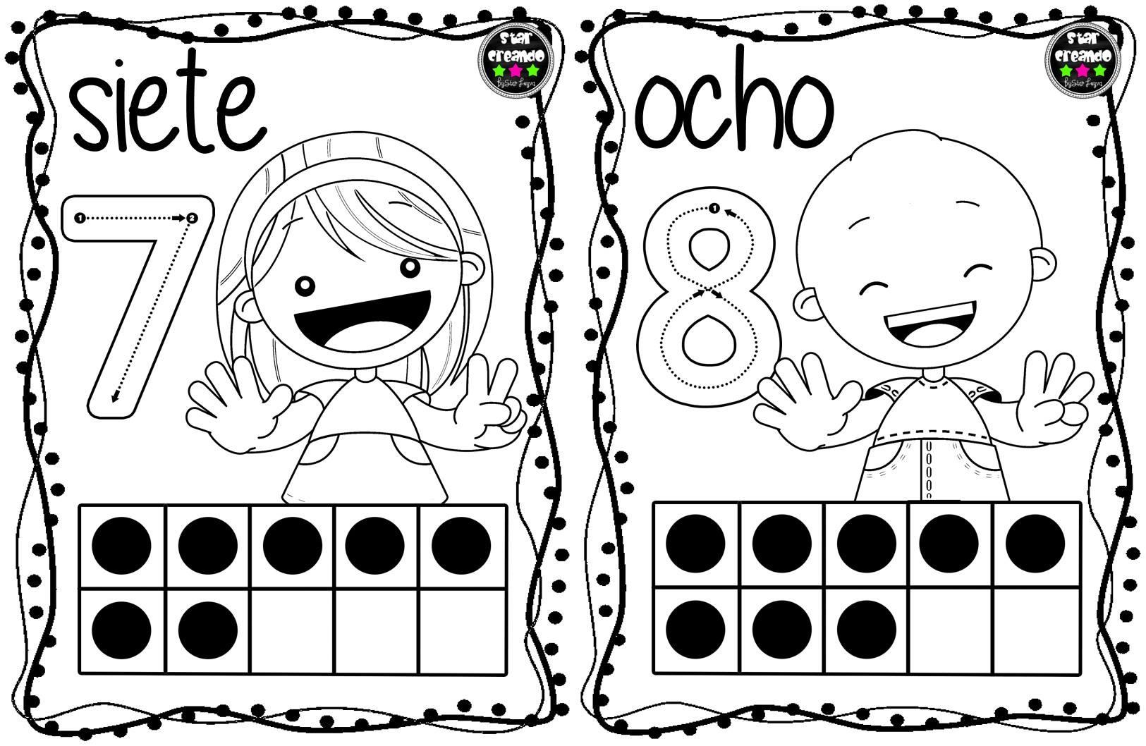 Dibujos Para Colorear Con Numeros Del 1 Al 100: Tarjetas Números Para Colorear (5)