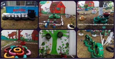 Decoramos nuestro patio con neumáticos y materiales reciclados portada