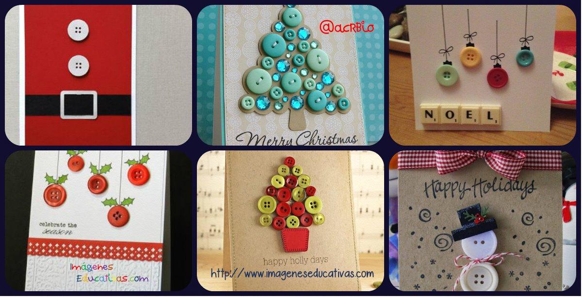 Tarjetas de navidad con botones portada imagenes educativas - Tarjetas de navidad faciles ...