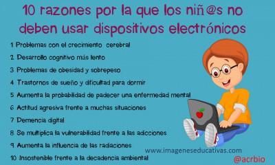 10 razones por la que los niñ@s no deben usar dispositivos electrónicos