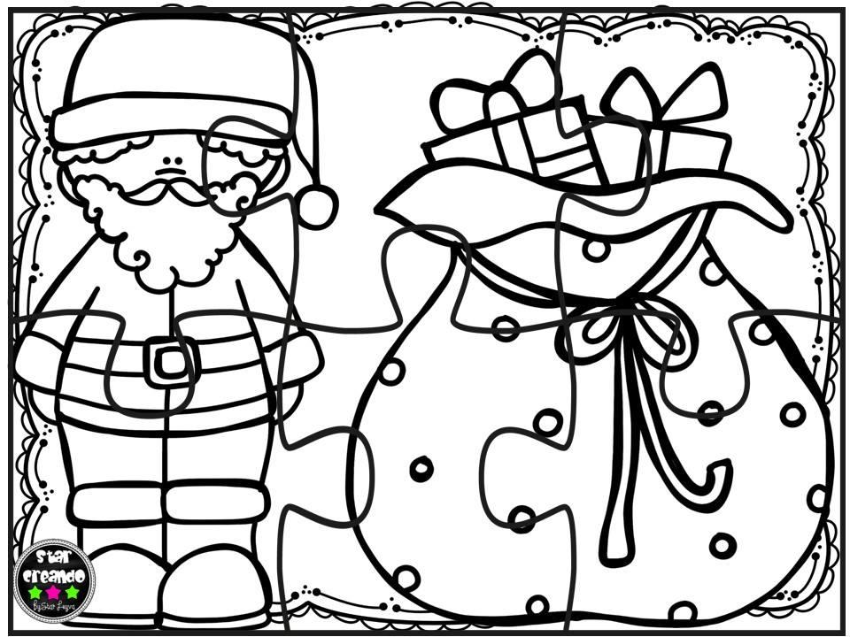 Puzzles navidad para colorear 2 imagenes educativas for Adornos navidenos para colorear y recortar