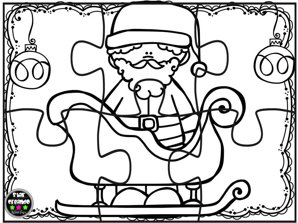 Puzzles navidad para colorear (3) - Imagenes Educativas