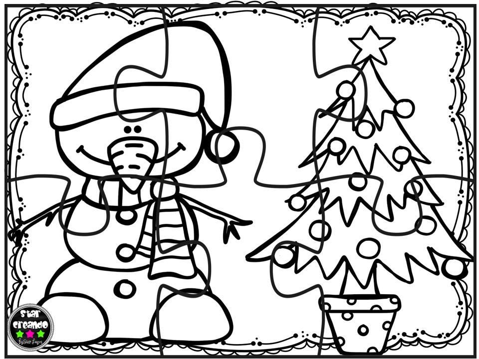 Puzzles navidad para colorear 9 Imagenes Educativas