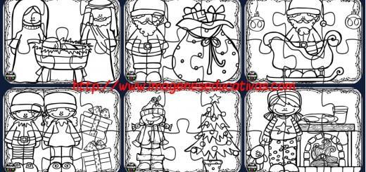 Puzzles navidad para colorear Portada