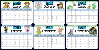 Calendario 2016 dulce Pordada