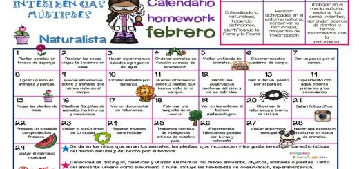 Calendario Inteligencias Múltiples Naturalista febrero Portada