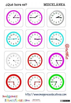 fichas de relojes analógicos. (12)