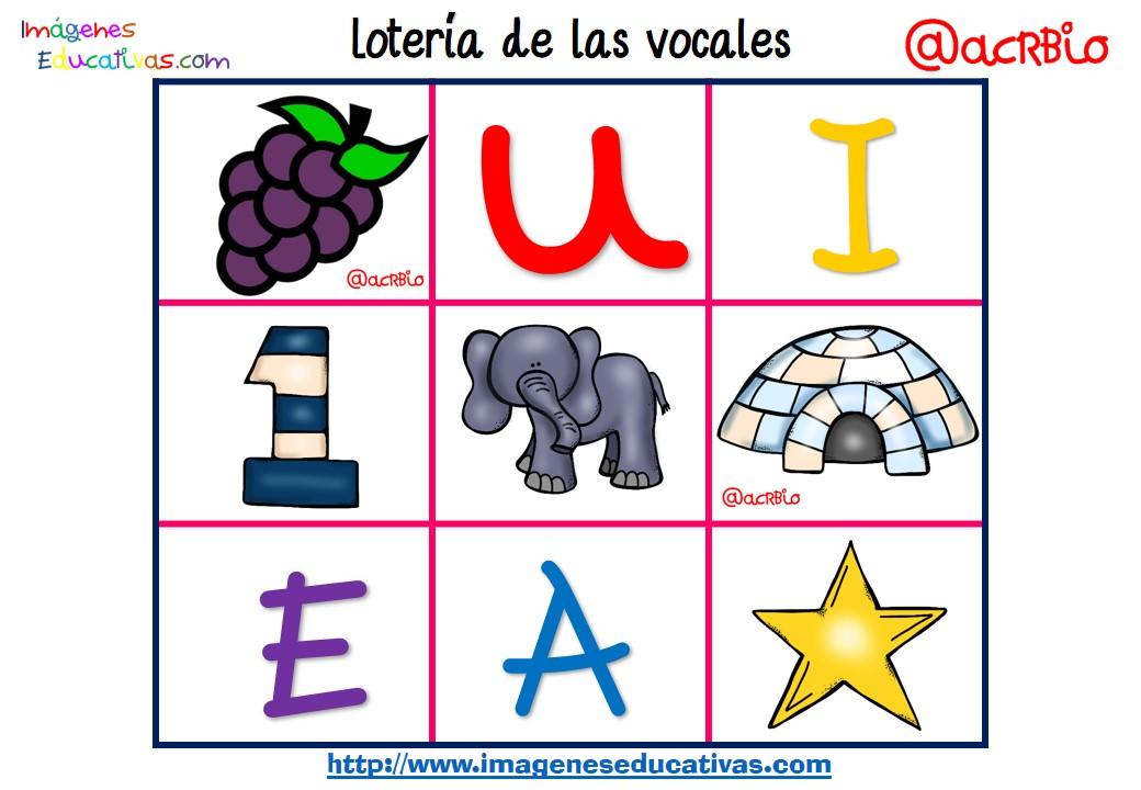Lotería Bingo de las vocales, una idea genial - Imagenes Educativas
