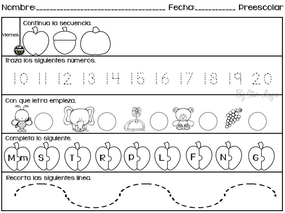 semanario de actividades para preescolar actividades de