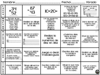 Semanario matemático diferentes grados, actividades de refuerzo (1)