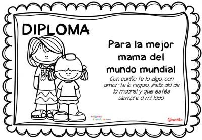 Diplomas para colorear del día de las madres. 10 de Mayo (1)