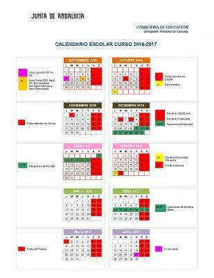 Calendario escolares 2016-2017 Granada