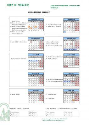 Calendario escolares 2016-2017  Sevilla