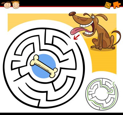 Cartoon Illustration of Education Maze or Labyrinth Game for Preschool Children with Funny Dog and Dog Bone