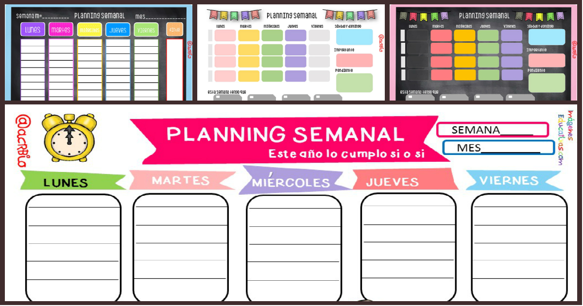 Planificador Semanal Portada Imagenes Educativas