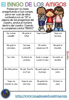 """Actividad para los primeros días de clase """"El BINGO DE LOS AMIGOS"""" (1)"""