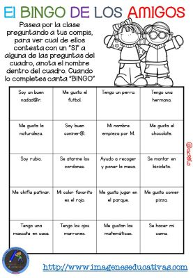 """Actividad para los primeros días de clase """"El BINGO DE LOS AMIGOS"""" (13)"""