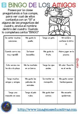 """Actividad para los primeros días de clase """"El BINGO DE LOS AMIGOS"""" (14)"""