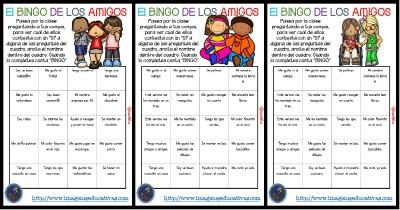"""Actividad para los primeros días de clase """"El BINGO DE LOS AMIGOS"""" PORTADA"""