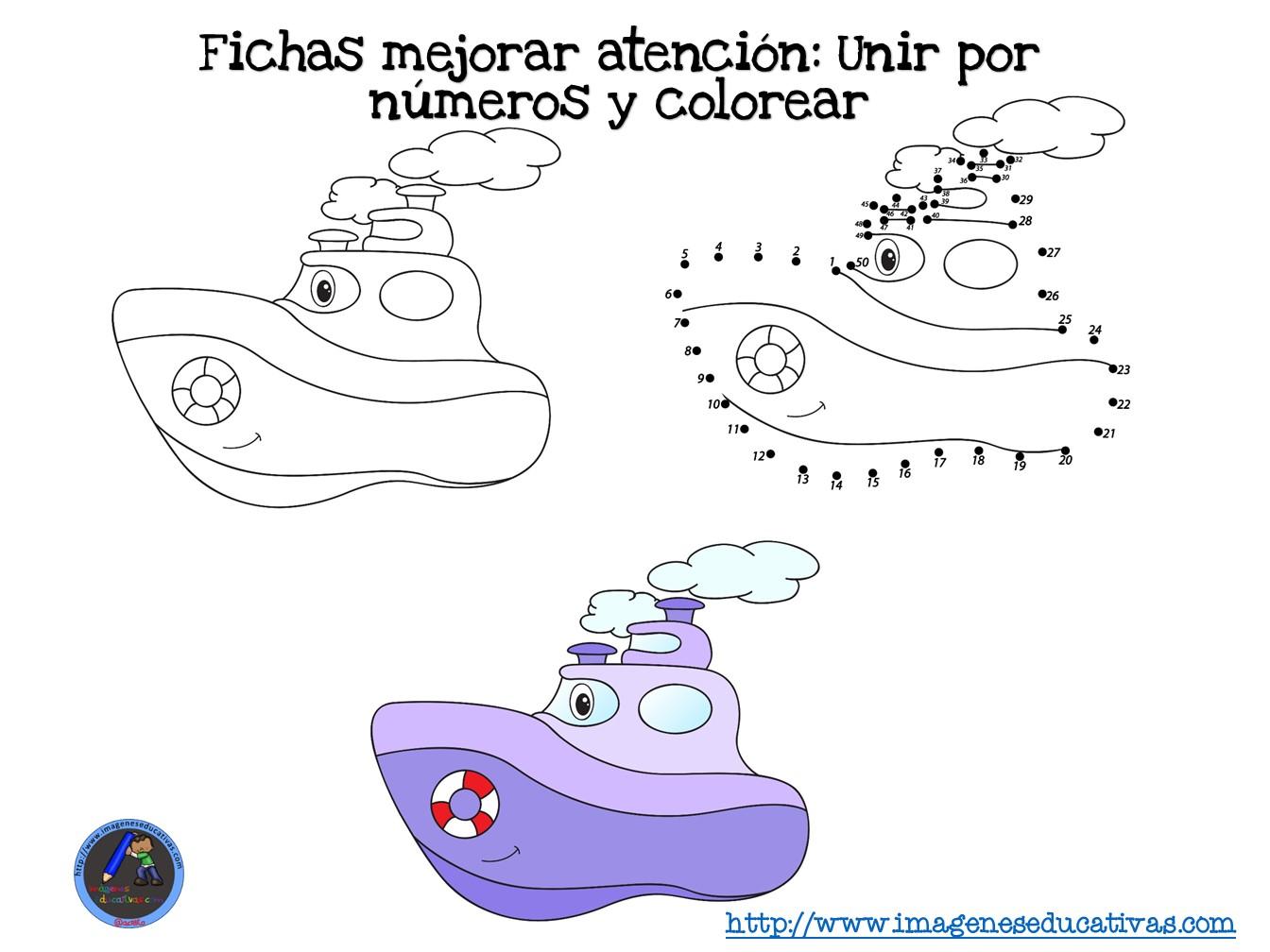 Fichas mejorar atención Unir por números y colorear (1) - Imagenes ...