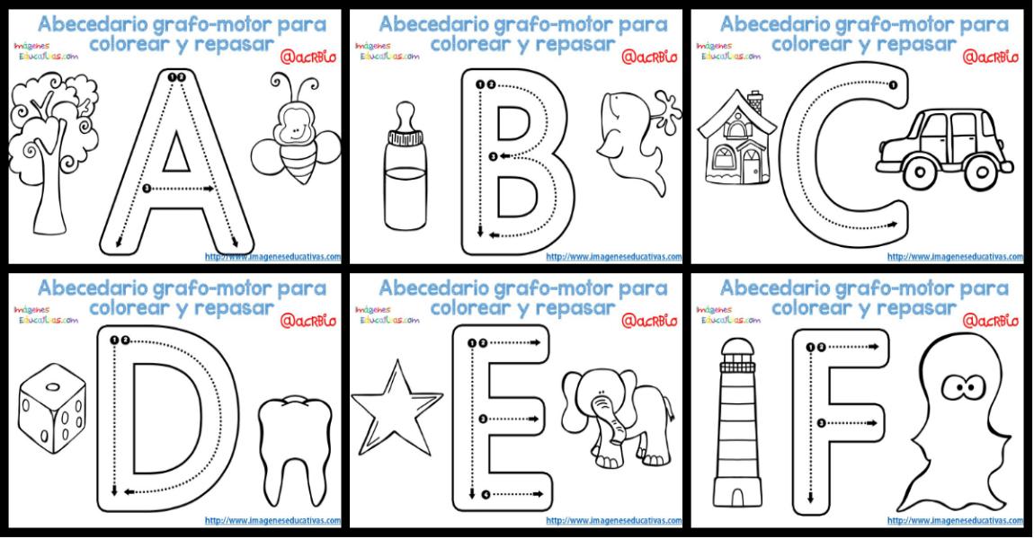 Alfabeto Para Colorear: Abecedario Grafo-motor Para Colorear Y Repasar