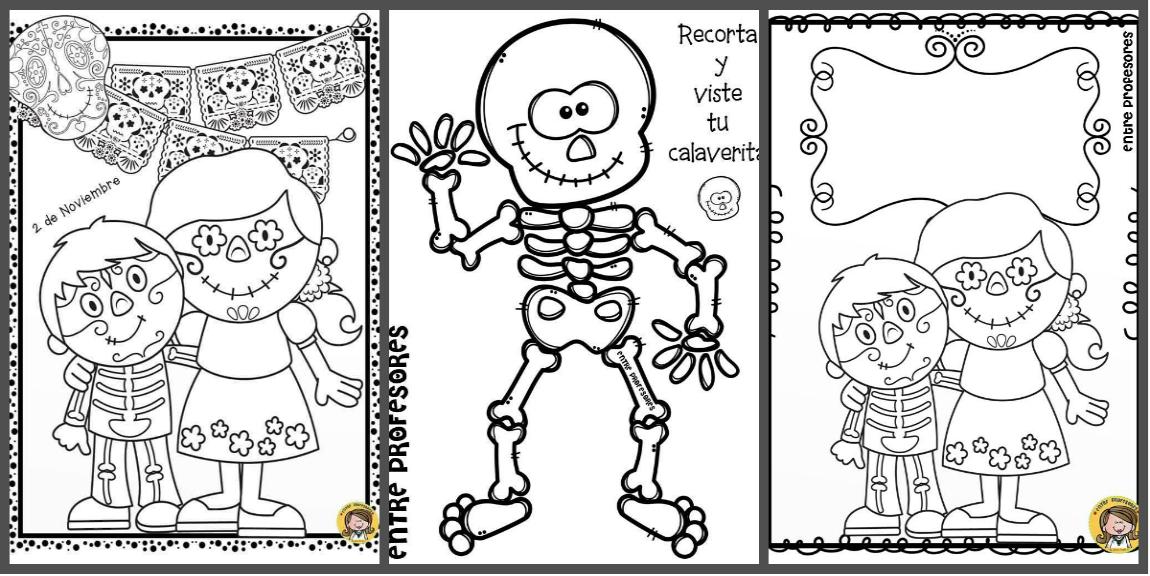 Dibujos De Calaveras Bonitas Para Colorear: Dibujos-para-colorear-el-dia-de-los-muertos-portada